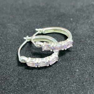 Sterling Silver Hoop Earrings w/ Purple Gemstones
